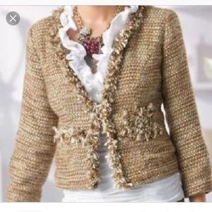 Cabi Phoebe gold tweed jacket size XS